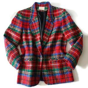 PENDLETON classic red wool plaid woman's blazer